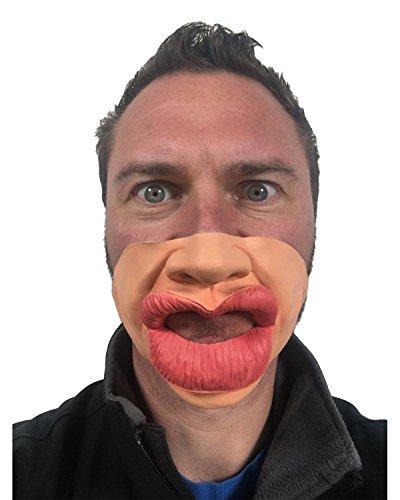 Gummi ein, die Trout Pout Johnnies, Half Face, Big Botox Lippen, die Haut Farbige, One size (Rolling Stones Kostüm)
