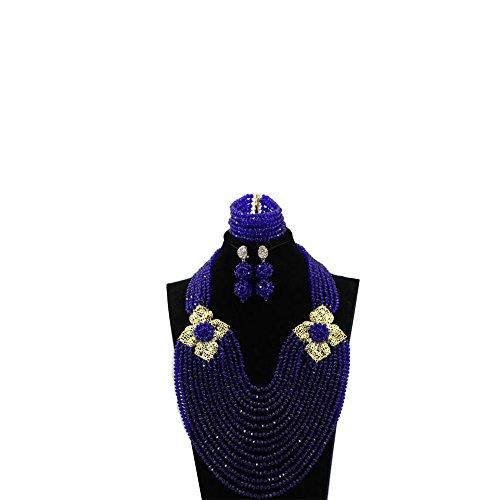 chen Perlen Kostüm Halskette Set Nigerianisches traditionellen Schmuck Set für Hochzeit Brides 2018Geschenk (Royal Blau Kostüme)