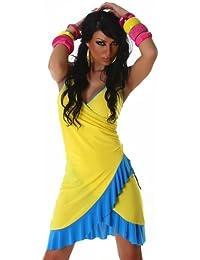 Cocktailkleid Kleid Tanzkleid V-Ausschnitt zweifarbig Onesize trendiges Design