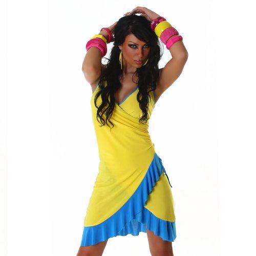 London Tanz Kostüm - Jela London Cocktailkleid Kleid Tanzkleid V-Ausschnitt zweifarbig - Einheitsgröße 34,36,38 - Gelb-Türkis