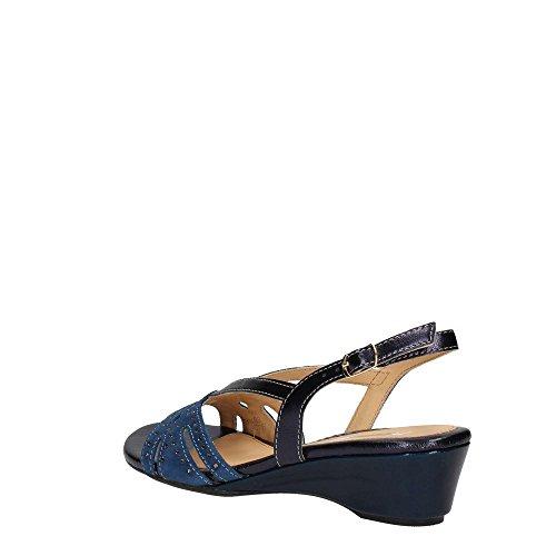 08755 BLU Scarpa donna Melluso sandalo zeppa pelle made in Italy Bleu