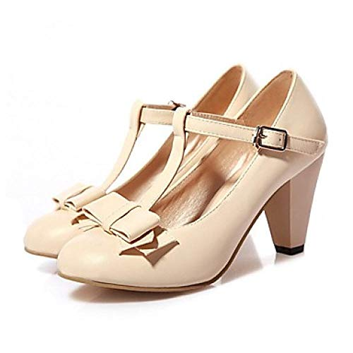 Womens Heels Round Toe Bowknot/Schnalle PU (Polyurethan) Komfort/Neuheit Frühling/Herbst Beige/Grün/Pink/Party & Abend@Beige_US7.5 / EU38 / UK5.5 / CN38 -