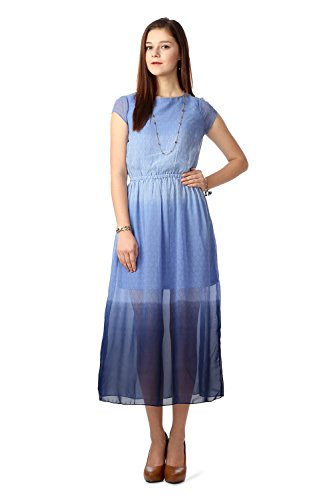 People Women's A-Line Dress (P10202991645169_Blue_Medium)  available at amazon for Rs.499