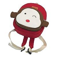 Quemu Co.,Ltd. Cartoon School Bags Animal Monkey Panda Backpack Cute Shoulder School Bag for Preschool Toddler Child Baby Girl Boys Kids (Red)
