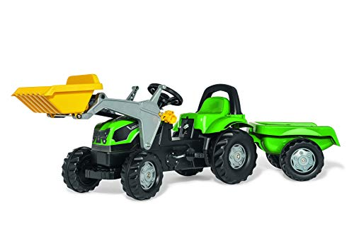 Deutz Trettraktor Rolly Toys Deutz Fahr Trettraktor mit Lader und Anhänger (rollyKid Traktor; Motorhaube öffenbar; Frontlader, Schaufellader; Kinder ab 2,5 Jahre) 023196