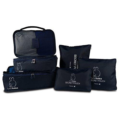 LafeiRabbit 6 Set de Organizador para Maleta, Impermeable 3 Cubos de embalaje + 3 Bolsas, Organizador de Equipaje Bolsa para Ropa Sucia de Viaje