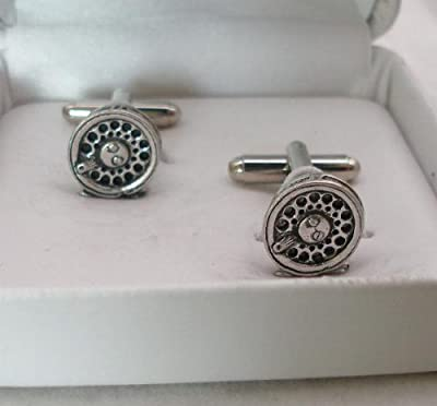 Fly Fishing Reel Cufflinks by Hoardersworld in Fine English Pewter. Gift Boxed by Hoardersworld