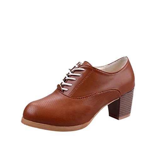 Longra Moda tinta unita Donna PU Materiale superiore Primavera Quadrato Tacco in legno Scarpe stringate Allacciate scarpe casual Marrone