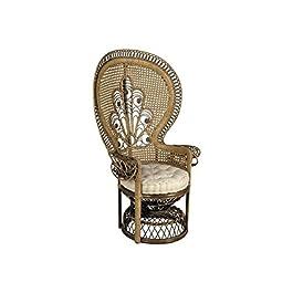 AUBRY GASPARD Fauteuil en rotin teinté Marron Emmanuelle 82x70x140cm