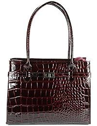 3d247cfcba954 BELLI klassische ital. Leder Handtasche Schultertasche dunkel bordeaux rot  lack Kroko Prägung - 35x27x15 cm