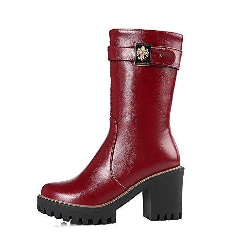 AllhqFashion Damen Mittler Absatz Rund Zehe Reißverschluss Stiefel mit Metallisch, Rot, 37