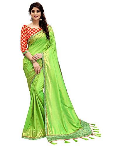 Monjolika Fashion Women's Two Tone Silk Saree (30687_Parrot-Green_Freesize)