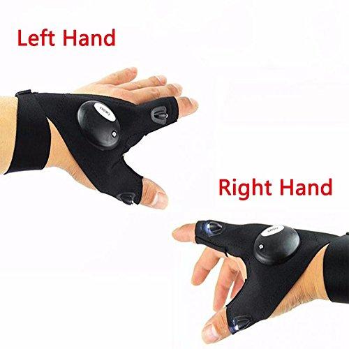 Soft Nacht Angeln Handschuh Fishing Glove sunnymi mit LED-Licht Rettungsgeräte Outdoor-Ausrüstung,Bequem Atmungsaktiv (Rechte Hand)