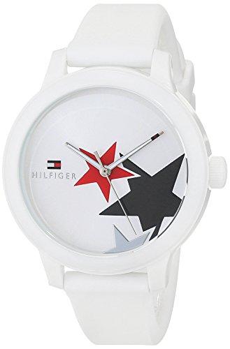 Tommy Hilfiger Damen Datum klassisch Quarz Uhr mit Silikon Armband 1781796