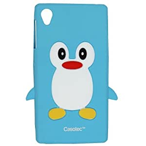 Casotec Penguin Silicone Jelly Back Case Cover for Sony Xperia Z1 - Ocean Blue