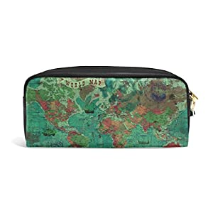 zzkko mapa del mundo funda de piel cremallera lápiz pluma estacionaria bolso de la bolsa de cosméticos bolsa bolso de mano