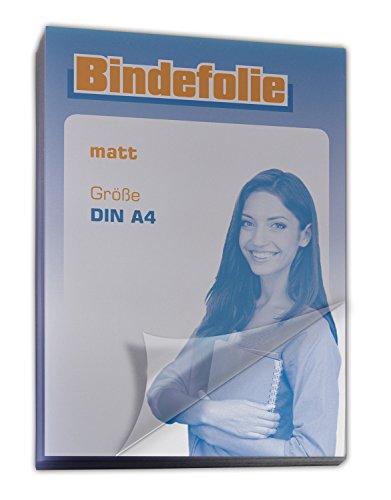 Deckfolie / Deckblatt transparent matt DIN A4 100 Stück, Umschlagmaterial für Bindungen