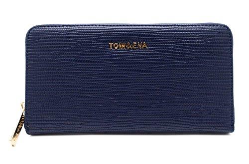 Tom & Eva - Lange Brieftasche All In One Woman - Kleine Brieftasche mit Reißverschluss-Etui Fein- Kartenhalter Croco Currency -Ridid Classic Trend-blau -
