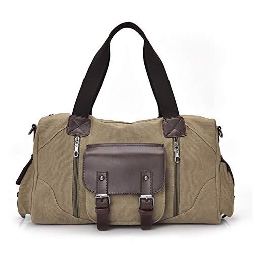 WETRICS Segeltuch Schultertaschen für Herren Handtaschen Umhängetaschen Fitnesstasche Duffel Bag Trainingstasche Klein Sporttasche Weekend Reisetasche Studententasche für Männer und Frauen - khaki