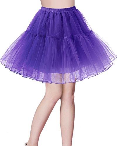 bridesmay Kurz Retro Petticoat Rock 1950er Vintage Tutu Ballett Unterkleid Purple XL