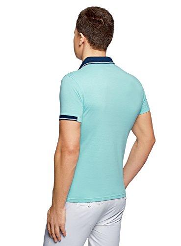 oodji Ultra Herren Poloshirt mit Kontrastbesatz Türkis (7379B)