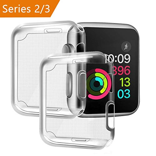 Funda para Apple Watch 42mm Series 2/ Series 3 [2 piezas], PEMOTech Suave TPU Funda [Cobertura Completa] [0.3mm Ultra delgado][HD Claro ][Anti-Arañazos] para Apple Watch Series 2/ Series 3 (42mm)