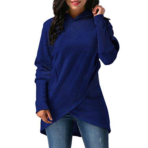 Verband Kapuzenpullover für Frauen,FRIENDGG Damen Mädchen Herbst Winter Langarm Feste Mode Lässig Täglich Elegante Kapuzenpulli Wrap Outwear Tops Mantel Pullover Hoody (Blau, XXL) (Streifen-mode-polo-kleid)