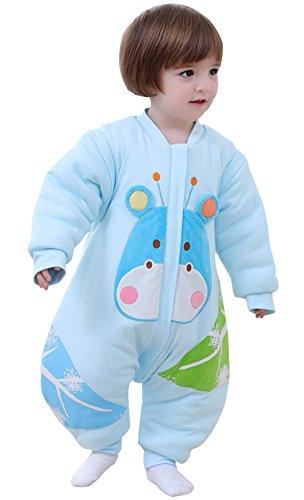 Beifanchen - sacco nanna per bambini neonati unisex con maniche lunghe staccabili - sacco a pelo in cotone invernale autunnale primaverile con piedini - cervo - azzurro - 68cm