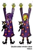 Fenster ,- und Tür Dekoration Halloween Hexe mit schwarzem Kater und Hut Kunststofffolie