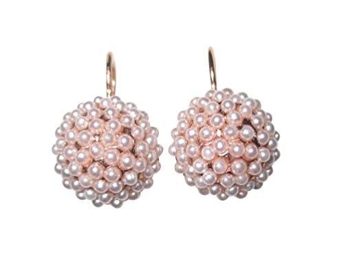 Eleganza: orecchini classici con piccole perle d'acqua dolce, chiusura a monachella, argento sterling placcato in oro rosso, made in Italy