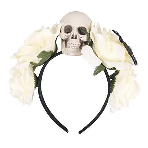 Amosfun Tag der Toten Stirnband künstliche Blume Hairband Rose Skull Headpiece für (Bringen Sie Ihre Toten Kostüm)