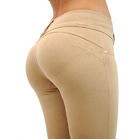 YHNEW Mujer Pantalones Cintura Baja Push Up Pierna Elástica Musculación Flacos