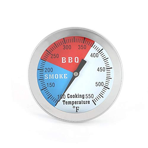 PETUNIA Stainless Steel BBQ Barbecue Smoker Grill Thermometer Temperature Gauge - Silver(Butterfly nut)