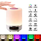 Multifonction 5 en 1 lampe de chevet portable rechargeable de veilleuse, lampe de table Bluetooth haut-parleur musique...