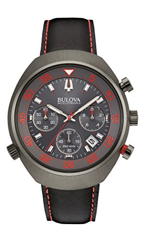 Bulova Accutron II Lobster Chronograph Men's Quartz Watch with Grey Dial Chronograph Display and Black Stainless Steel Plated Strap 98B252