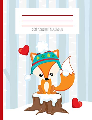 Composition Notebook: Winter Beanie Fox Snowy Woods Kawaii Face Red Hearts Journal And Notebook - Winter Zander