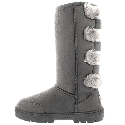 Damen Pelz Sitefel Three Buckle Back Wasserdicht Winter Schnee Sitefel Grau/Grau Pelz
