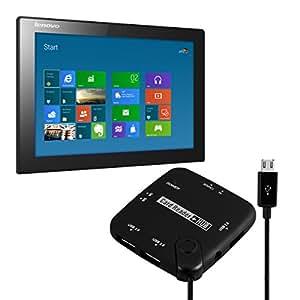 kwmobile Lecteur multicarte 7en1 micro USB connexion OTG pour Lenovo MIIX 3-1030 adaptateur USB 2.0 / carte SD / carte micro SD etc. en noir