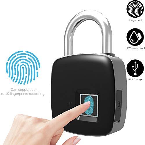 ALLOMN Huella Dactilar Bloquear Candado de Seguridad Electrónico Cerradura de Puerta Segura sin llave Portátil inteligente Táctil 1 segundo Desbloqueo Rápido Carga USB IP65 Soporte a Prueba de Agua