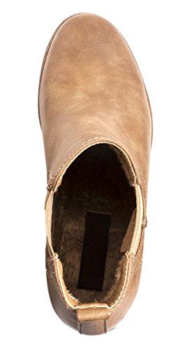Elara Chelsea Boots | Bequeme Damen Stiefeletten | Lederoptik Blockabsatz |chunkyrayan Khaki Sahara