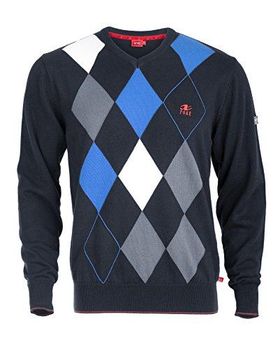 XFORE Golf Herren V-Neck Pullover mit Rautenmuster, Lyon, in Dunkelblau/Blau/Weiss, Größe S (Golf Strickpullover)