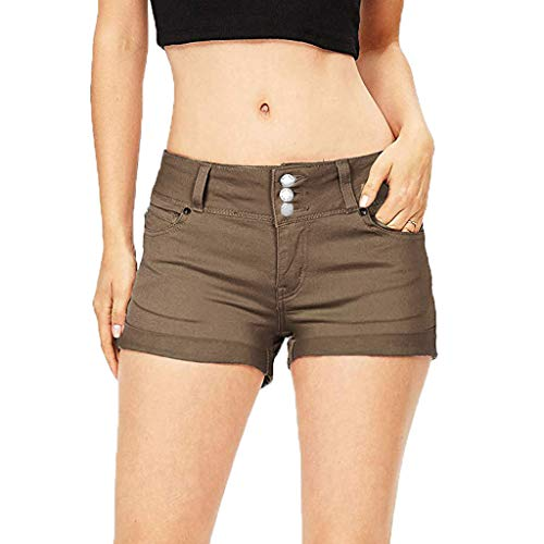 Asalinao Frauen Sommer Stretchy Hohe Taille Button Down Denim Fit Mini Shorts Jeans Hosen