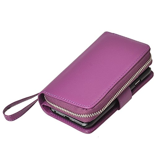 Wkae Case Cover 2 in 1 Trennbare Zipper Wallet Ledertasche mit Lanyard für iPhone 6 &6S ( Color : Red ) Purple