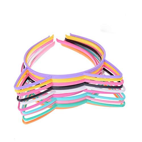 Pink Kleinkind Cat Kostüm - adfen 10PCS, Katze Ohr Headbands Kunststoff Cat Haarband Schleife Haarbänder Make-up Party mit Kopfbedeckungen für Frauen Mädchen, zufällige Farbe