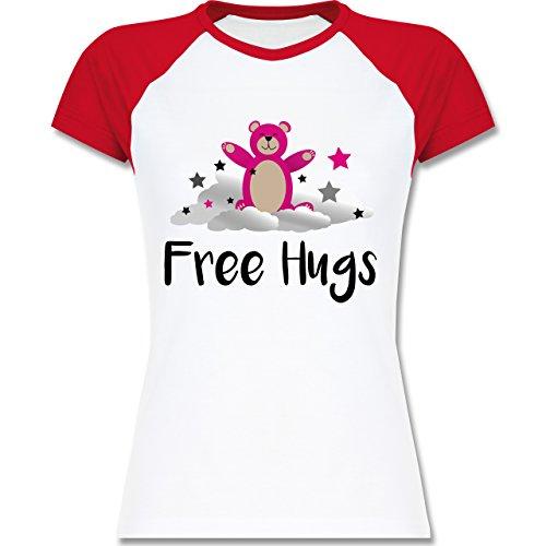 Shirtracer Comic Shirts - Free Hugs - Zweifarbiges Baseballshirt/Raglan T-Shirt für Damen Weiß/Rot