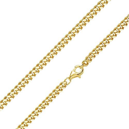 MATERIA Herren Panzerkette 4mm 925 Silber vergoldet 8-fach diamantiert/deutsche Fertigung #K92, Länge Halskette:50 cm