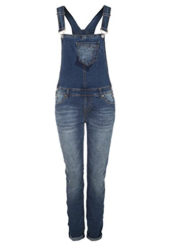 SUBLEVEL Damen Jeans-Latzhose Denim Overall mit Aufschlag Straight Fit middle blue XS