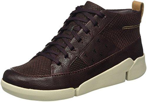 Clarks - Tri Amber, Sneakers alte Donna, Viola (Aubergine Combi Leather), 40 EU