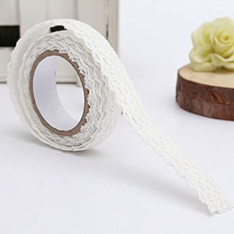 M.G.D Adhesive Lace Tape Trim Ribbon Cotton Fabric Tape Decor Craft White