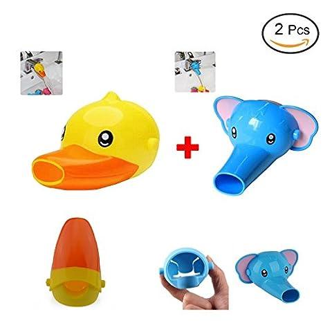2-Set Kawaii plastique Faucet Extender Cartoon animaux Forme Salle de bains cuisine extendeurs de robinet pour les enfants, les tout-petits, enfants Lavage des